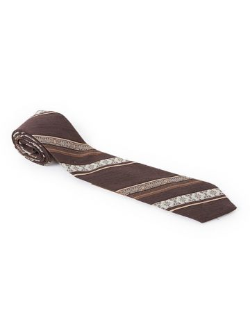 Vintage 70s Brown Stripe Patterned Wembley Silk Tie