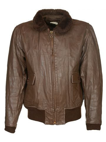 70's Brown Leather Flight Jacket - L