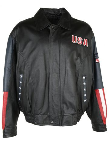 90s USA Black Leather Stars & Stripes Jacket - XL