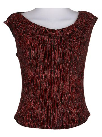 90s Red Sleeveless Evening Top - M