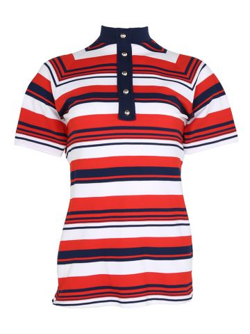 70s Red, White & Blue Striped Short Sleeve Blouse - S