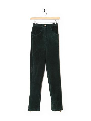 80s Green Suede High Waisted Trousers - W24