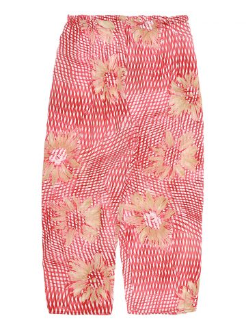 90s Red Patterned Floral Rayon Trousers - W34