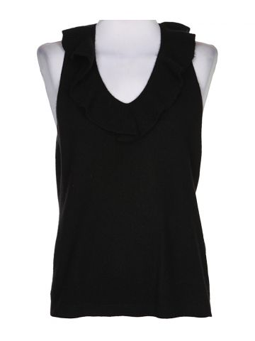 Black Cashmere Knit Tank Top - L