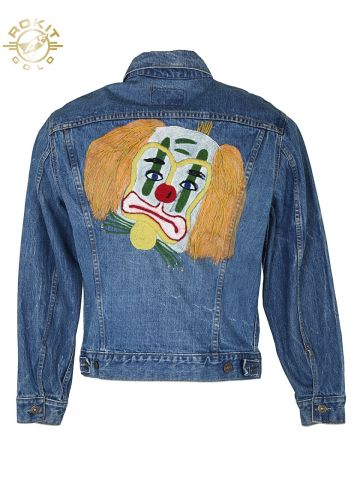 VINTAGE 60S LEVI'S BIG E INDIGO CLOWN CUSTOMISED DENIM JACKET - M