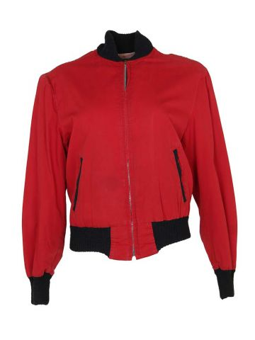 Vintage 50's Red Cotton Avon Sportswear Bomber Jacket - S