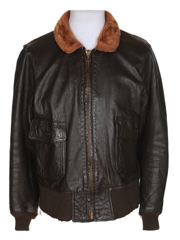 60s Brown Leather Military Flying Jacket – L