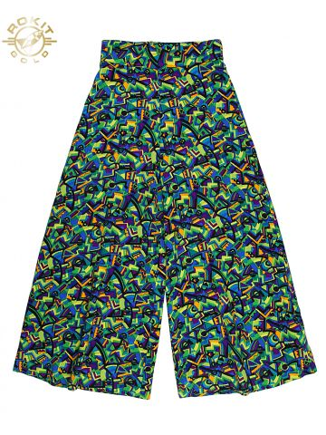 70s Green Fluro Patterned Flares - W28