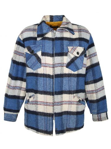 90s Blue Checked CPO Jacket - L