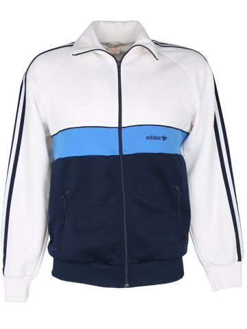 Vintage 1970s Adidas Blue and White Track Jacket - M