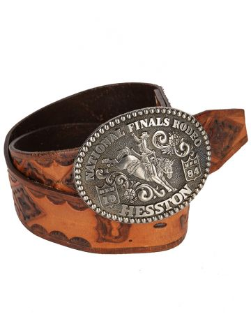 Brown Tooled Leather Western Belt With 1984 2nd Ed. Hesston Rodeo Buckle - W 32-38