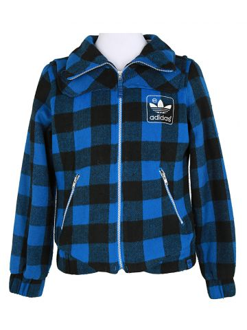 Adidas Black & Blue Checked Jacket - M