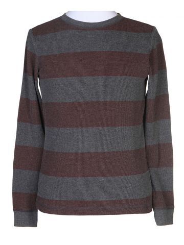 Grey & Red Striped Waffle Long Sleeve T-Shirt - L