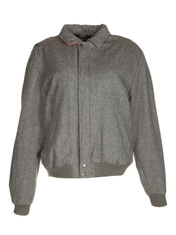 Vintage 80s Grey Wool Bomber Jacket - M