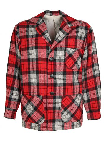 1960s Wool Red Checked Plaid Lumberjack Workwear Jacket - L