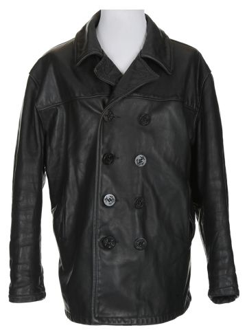 70s Schott N.Y.C. Black Leather Pea Coat - 48?