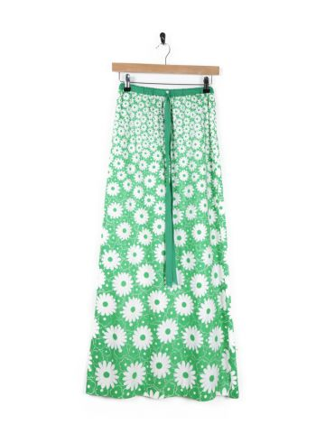 56286603d8 70s Green & White Floral Print Maxi Skirt - S in NY online (sales ...