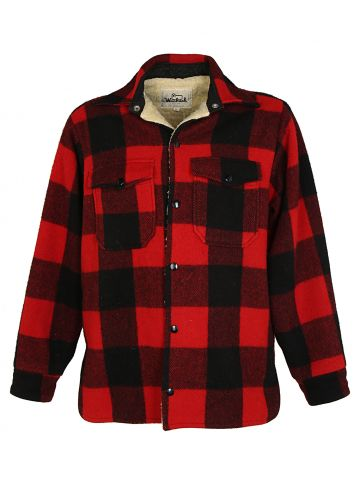 Woolrich Red Buffalo Check Sherpa Lined Jacket - L