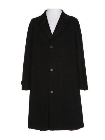 Ted Baker Black Wool Blend Overcoat - XXL
