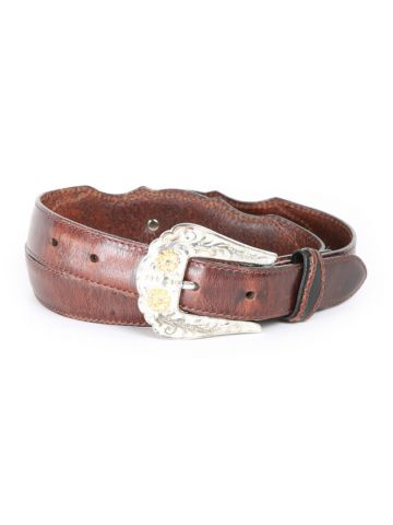 80s Brown Leather Western Belt