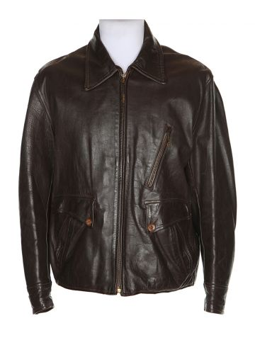 Vintage 1940s Brown Kurland  Leather Horsehide Jacket - XL