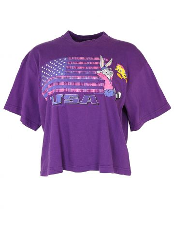 1990s Cropped USA Purple Looney Tunes T Shirt - L