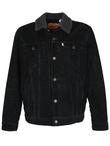 Black Corduroy Borg Sherpa Lined Levis Jacket - L