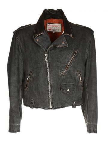 80s Black Denim Biker Jacket - L