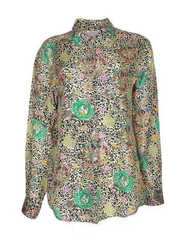 90s Multicoloured Graphic Print Silk Long Sleeve Blouse