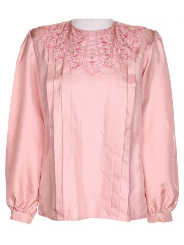 80's Pink Long Sleeve Blouse - M