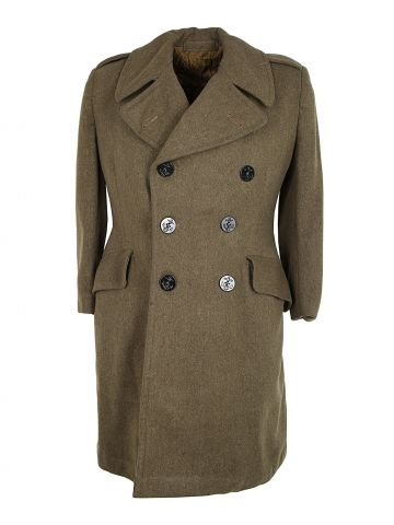 1950s Biritsh Green Military Peacoat with USN Buttons - S