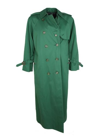 1980s Racing Green Burberry Mac Trench Coat - M