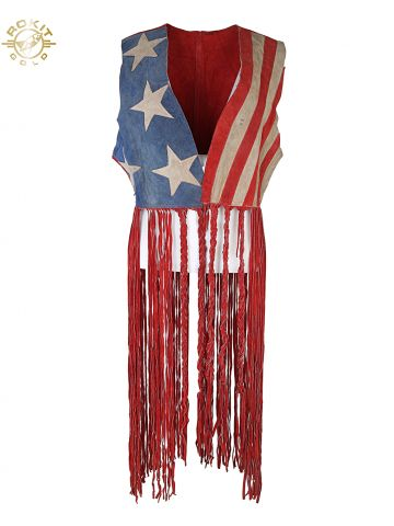 60s 70s Suede Stars N Stripes Fringed Waistcoat - One Size