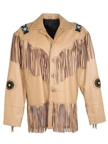 Camel Leather Beaded Western Jacket With Tassels - XL