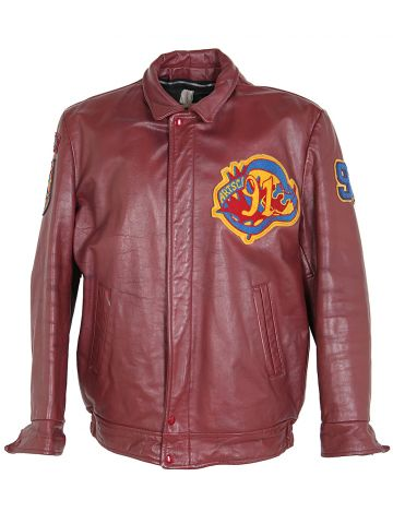 Vintage Queens Burgundy Leather College USA Jacket - L