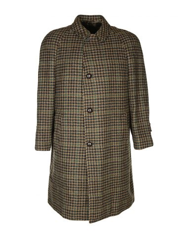60s Brown Houndstooth Tweed Overcoat - L