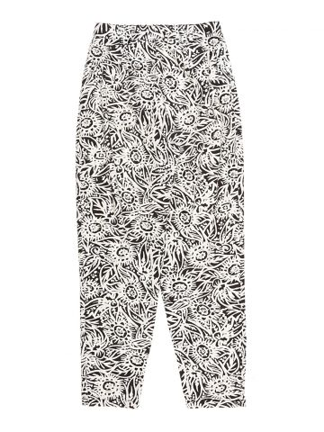 Black & White Floral Patterned Trousers - 27W