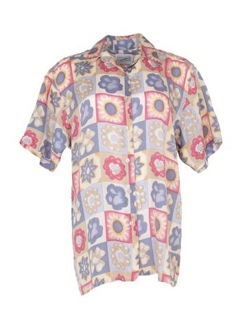 90s Pink & Blue Silk Floral Short Sleeve Blouse - S