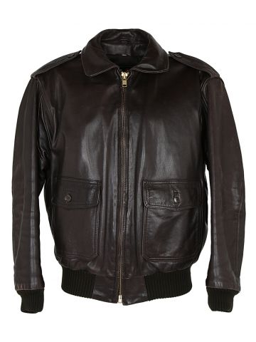 80s Abercrombie & Fitch Brown Leather Bomber Jacket - L