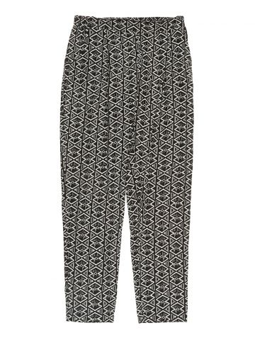 Black & White Abstract Print Rayon Trousers - L