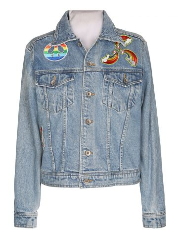 Light Wash Denim Jacket with Patches - M