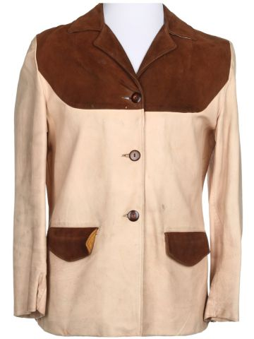 40s Brown and Beige Leather and Suede Jacket - M