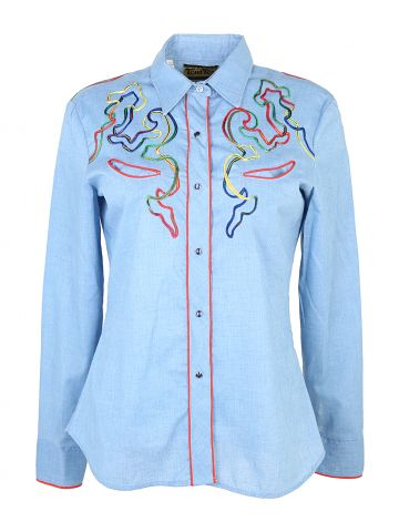 70s Tem Tex Blue Rainbow Cord Detailed Western Blouse - M