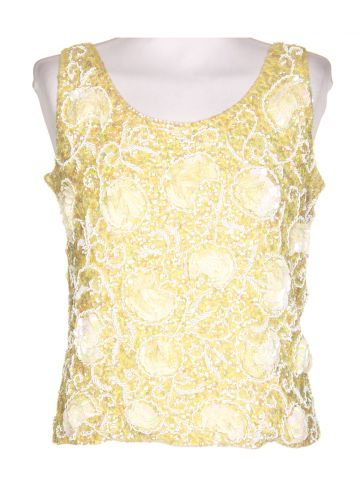 60s Yellow Sleeveless Evening Top - M