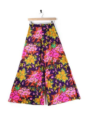 Vintage 70's Lightweight Floral Cotton Flared Trousers - XS