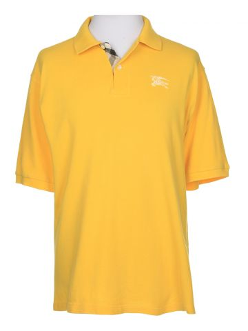 Burberry Yellow Short Sleeved Polo Shirt - L