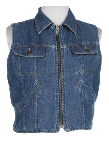 90s Dark Blue Denim Sleeveless Jacket - C38
