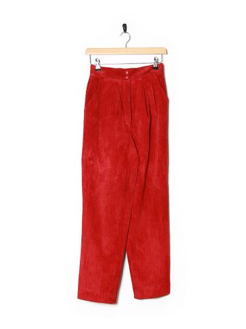 90s Red & Black Stripe Suede High Waisted Trousers - W26