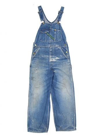 70s Blue Distressed Key Dungarees - S